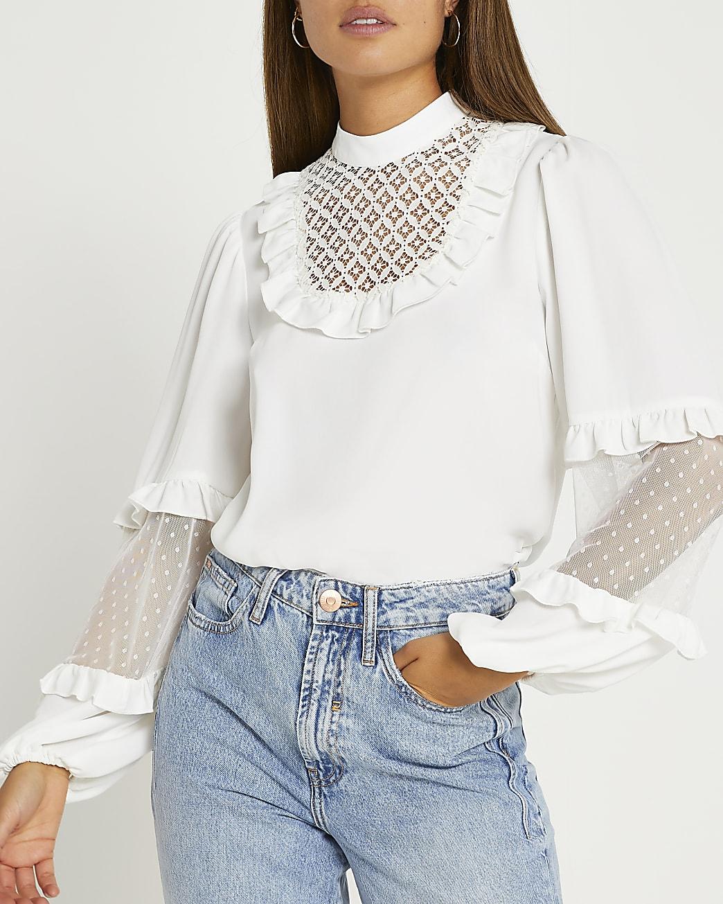 White long sleeve top