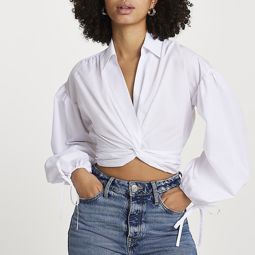 White long sleeve twist front crop shirt