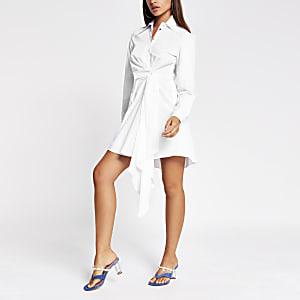 Robe chemise torsadéeà manches longues blanche