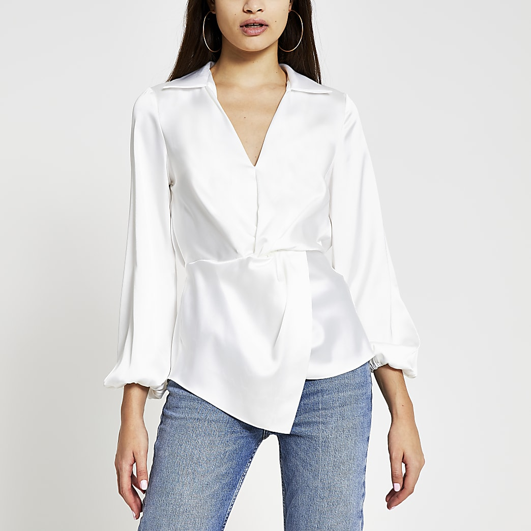 White long sleeve twist front shirt