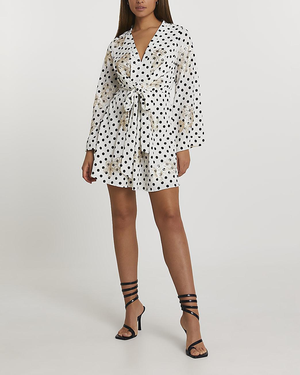 White long sleeve wrap front mini dress