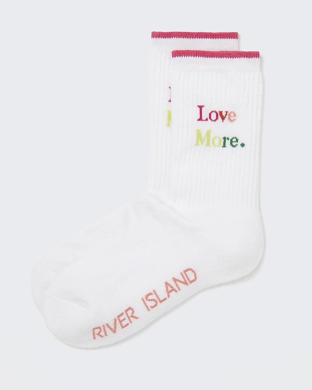 White 'Love More' tube socks