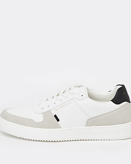 White low court lace up trainers