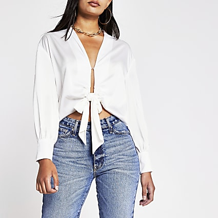White Ls Tie Front Luxe Shirt
