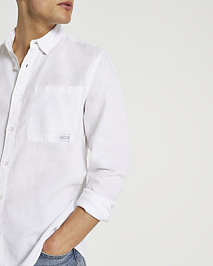 White lyocel slim fit long sleeve shirt
