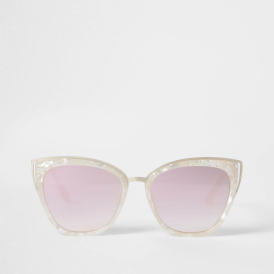 White marble frame cat eye sunglasses