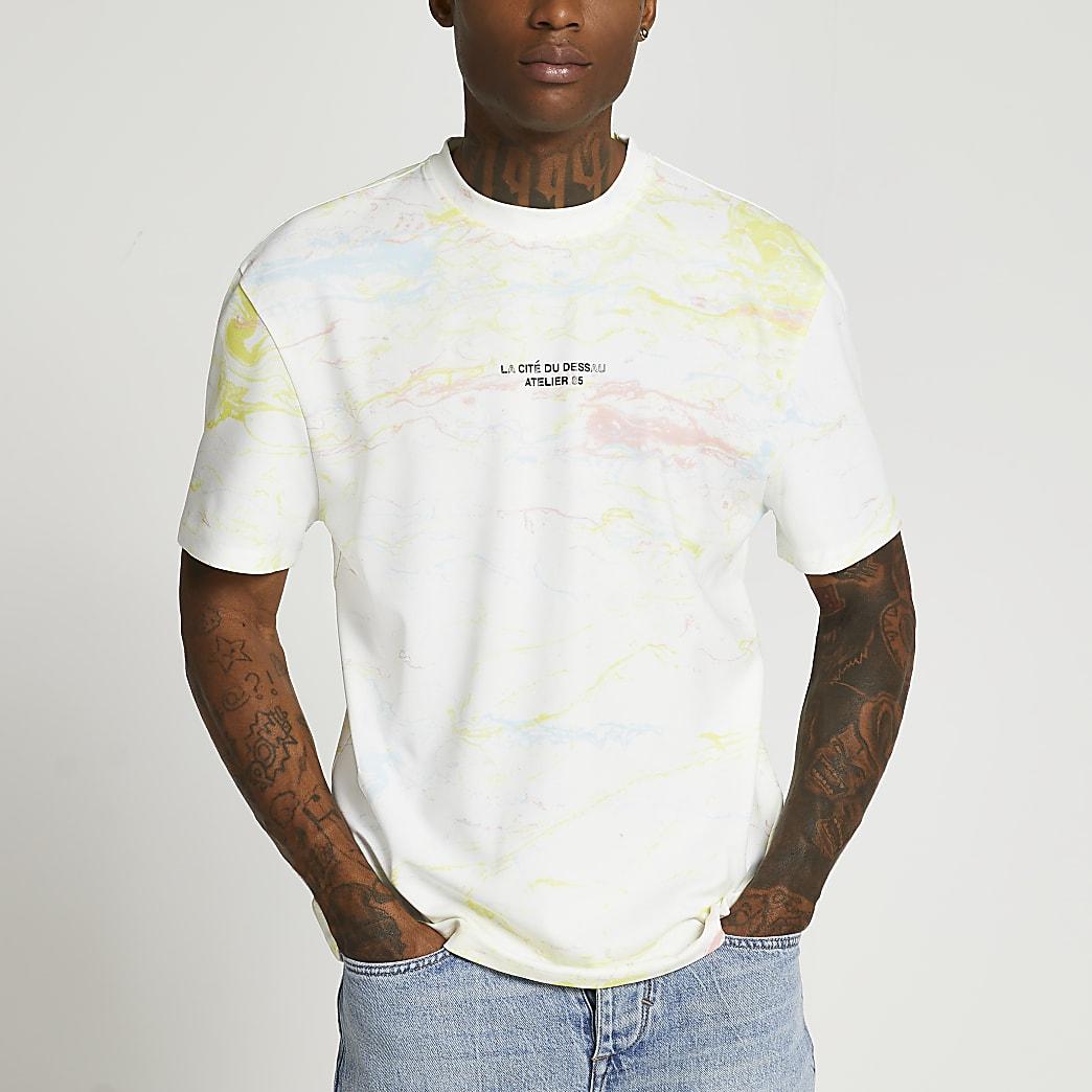 White marble print graphic t-shirt