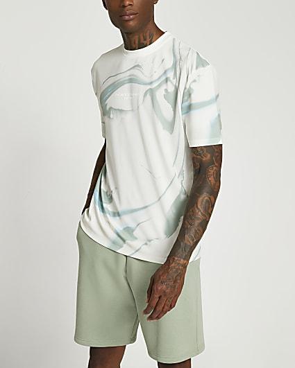 White marble print regular fit t-shirt