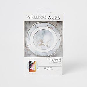 Witte marmerkleurige draadloze oplader