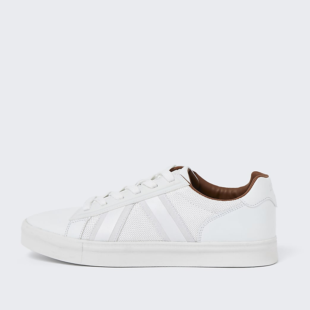 White mesh detail trainers