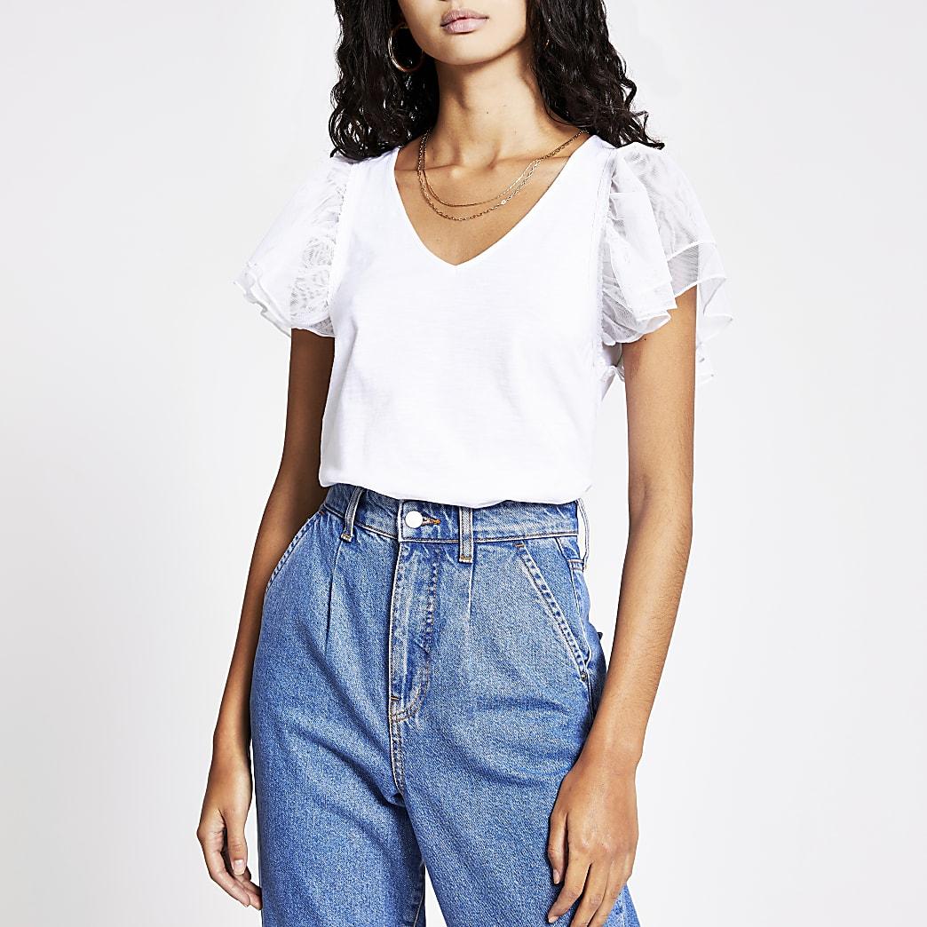 White mesh frill short sleeve T-shirt