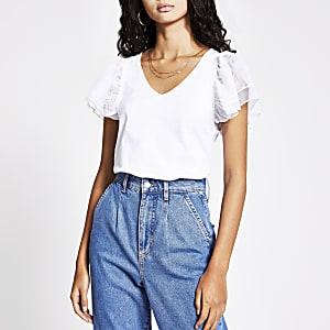 White mesh frill short sleeve V neck T-shirt