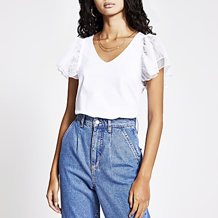 White mesh frill short sleeve V neck T-shirt
