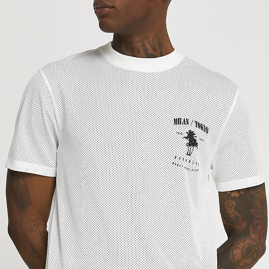 White mesh graphic t-shirt