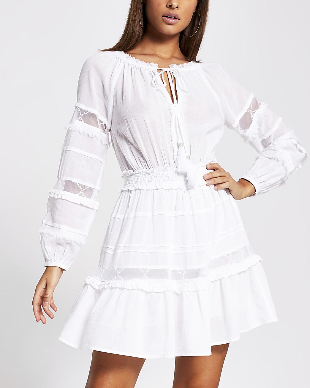 White mesh insert smock beach dress