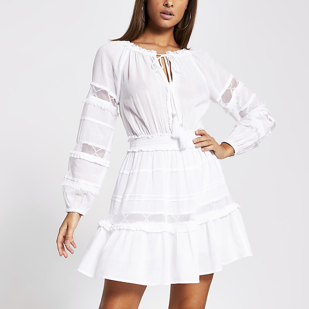 White mesh insert smock beach dress