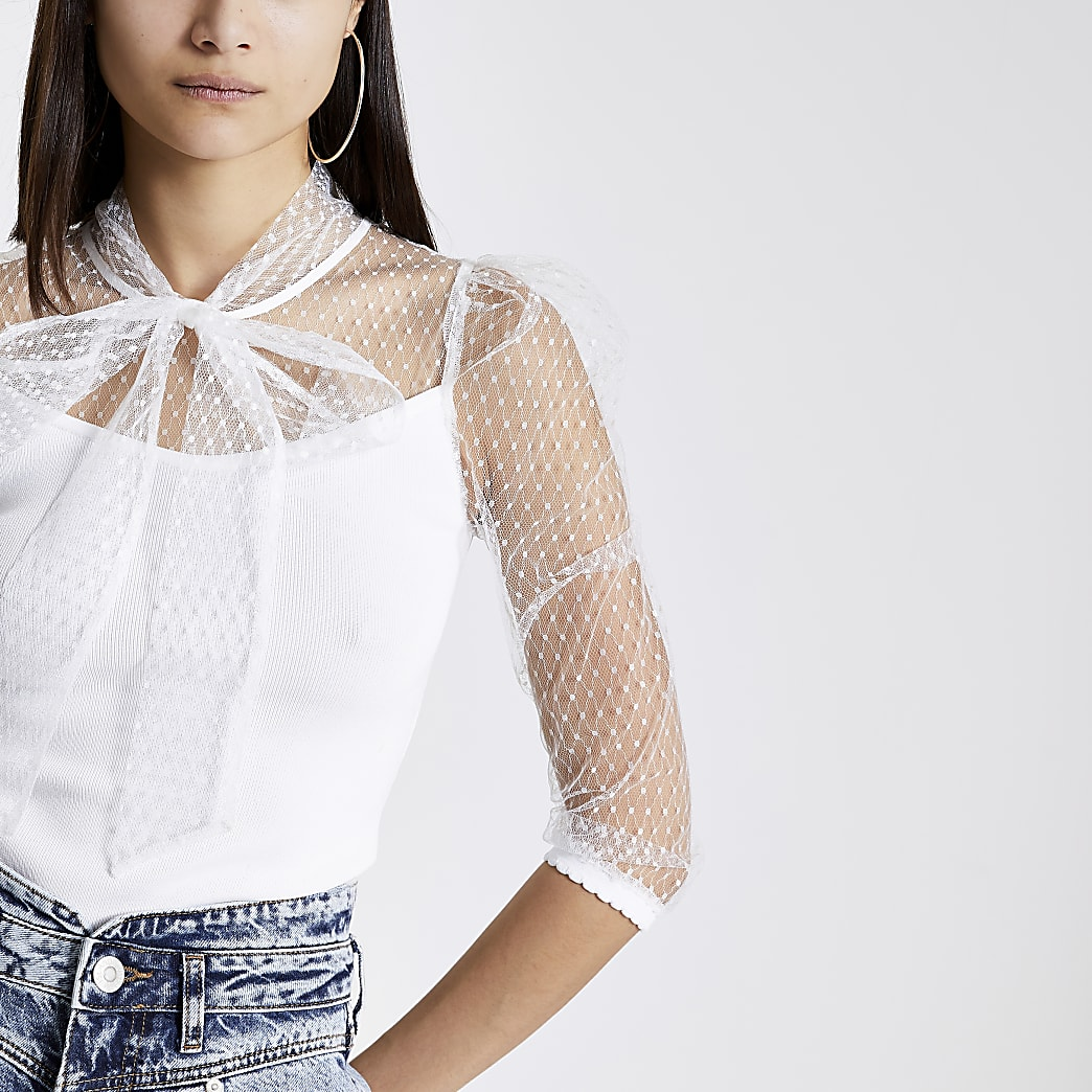 White mesh puff sleeve tie neck blouse