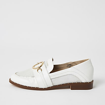 White mesh snaffle front loafers