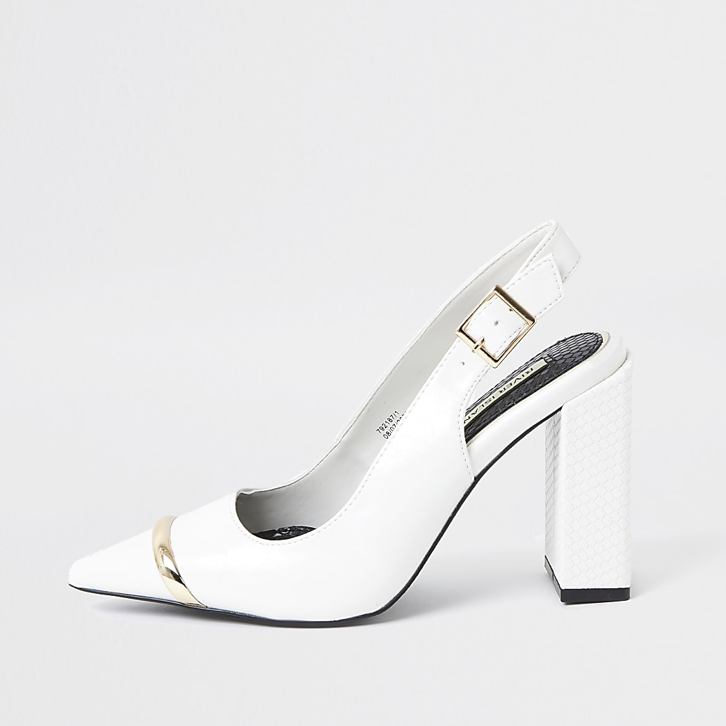 White metal toe sling back court heel