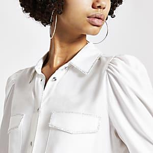 White metallic stitch long sleeve shirt