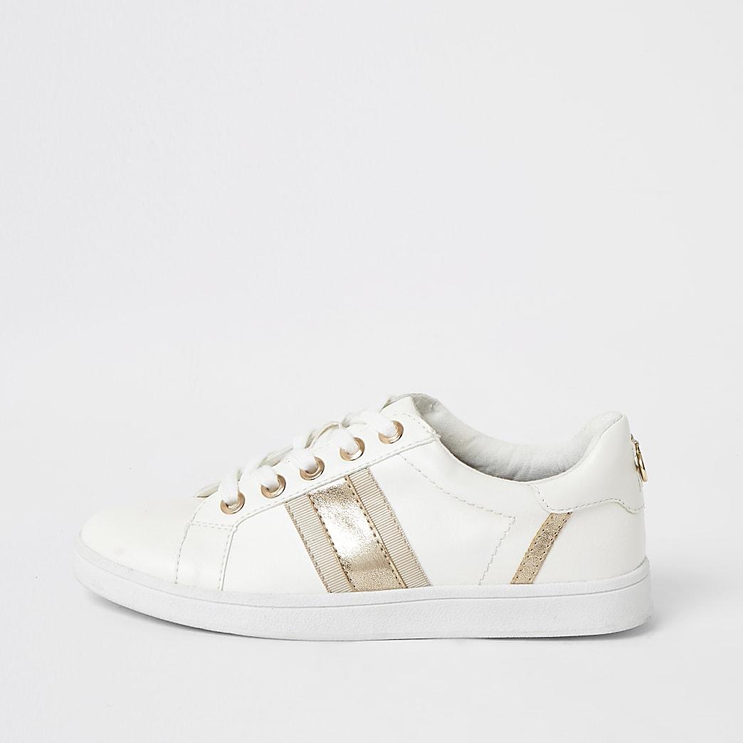 White metallic stripe wide fit trainers