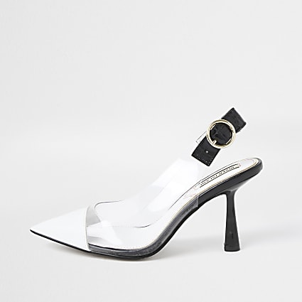White mid heel sling back court