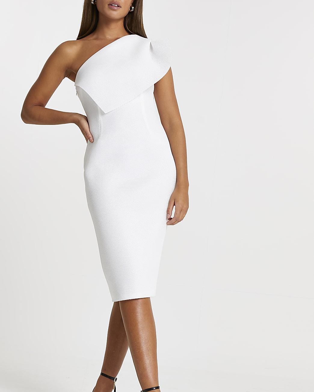 White midi fishnet bodycon dress