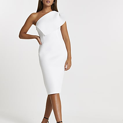 White midi fishnet bodycon dress