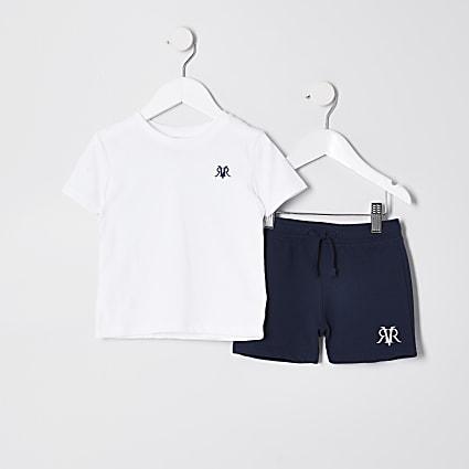 White mini boys t-shirt & short set