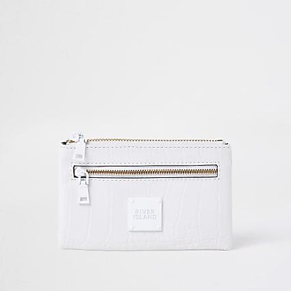White mini zip pouch purse