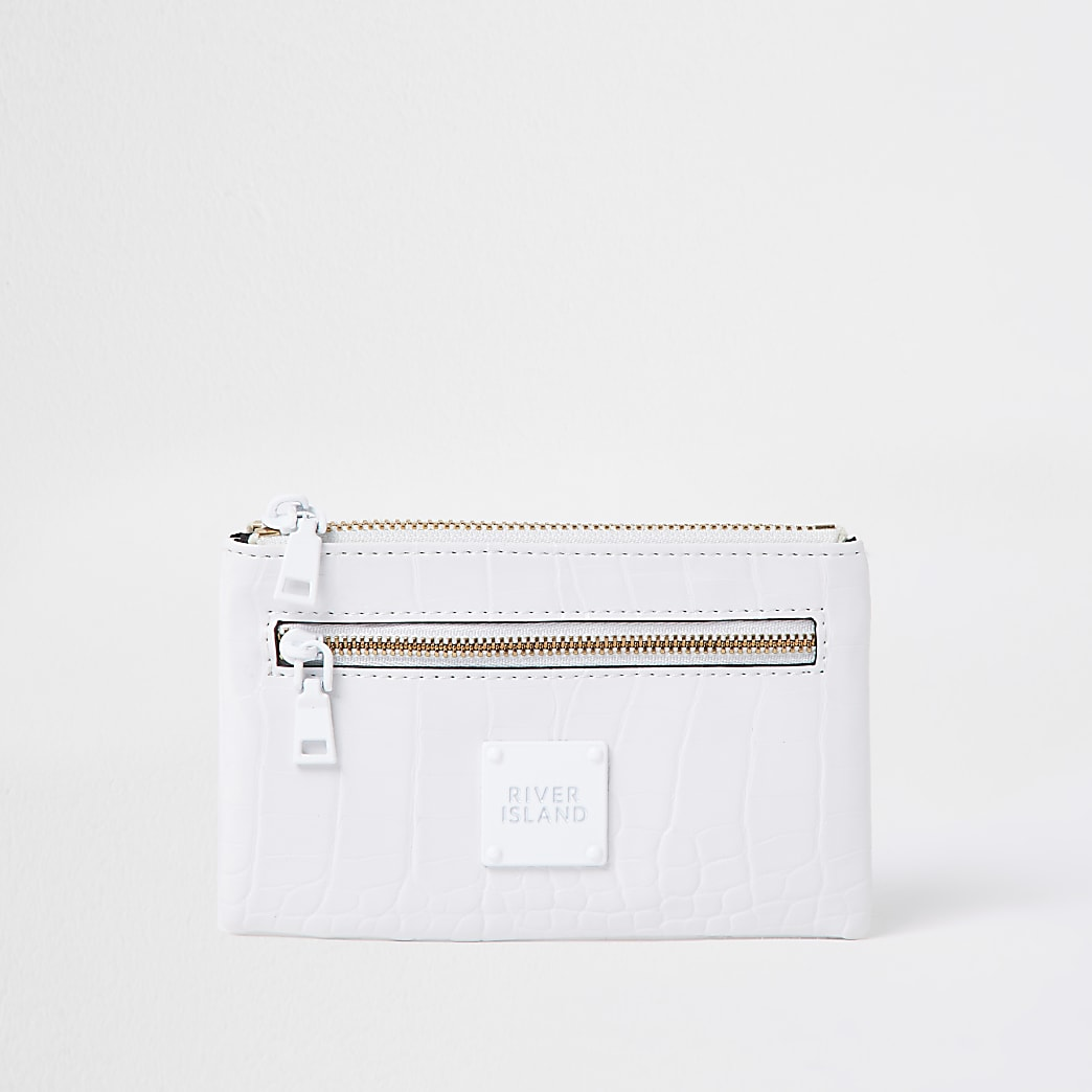 White mini zip pouch purse