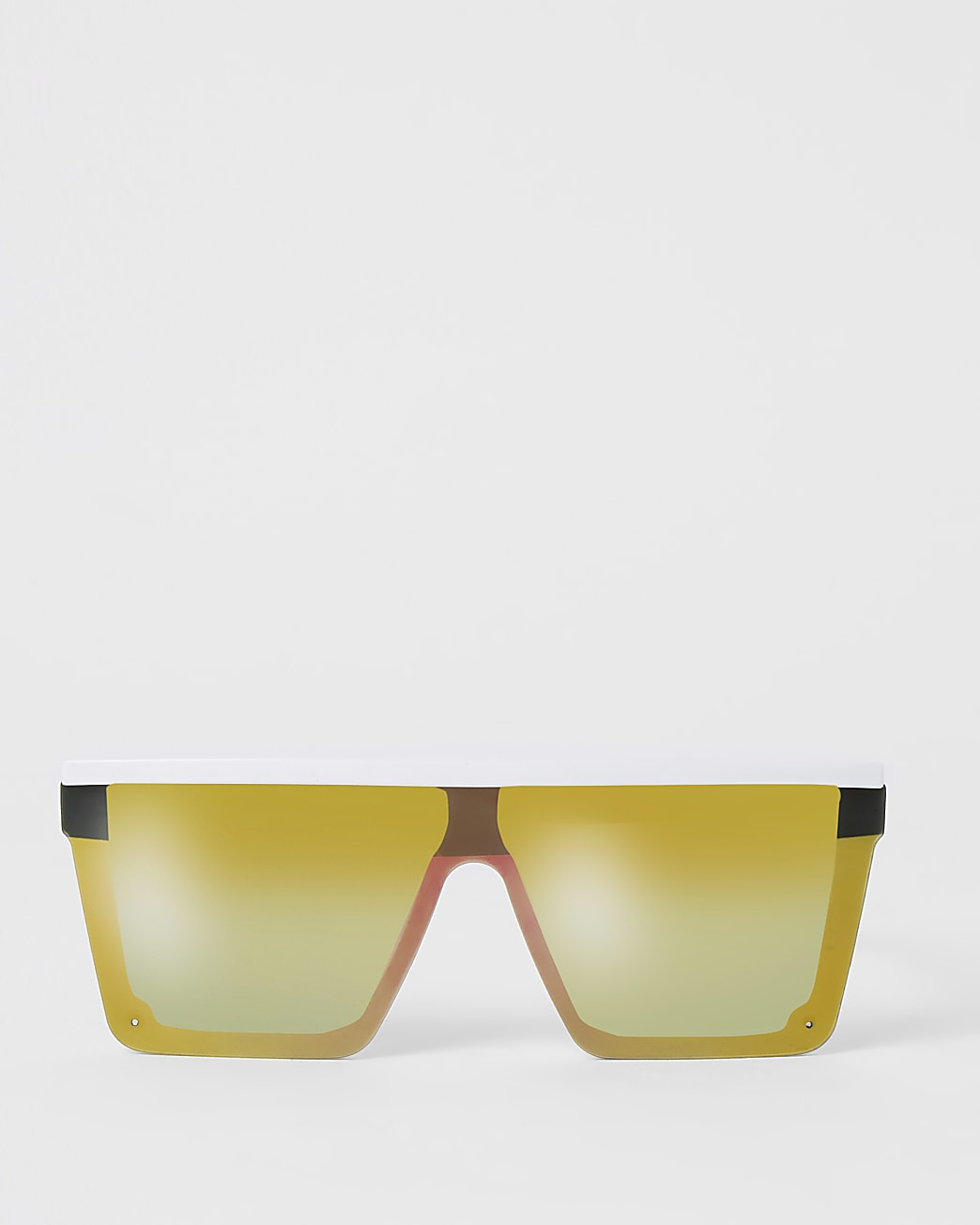 White mirrored visor sunglasses