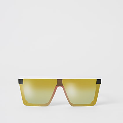White mirrored visor sunglasses