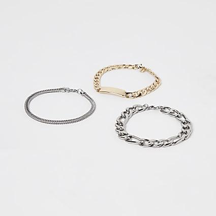 White mixed chain bracelet 3 pack