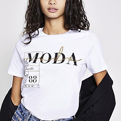 White 'Moda' printed T-shirt