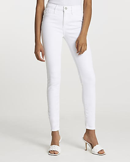 White Molly mid rise bum sculpt skinny jeans