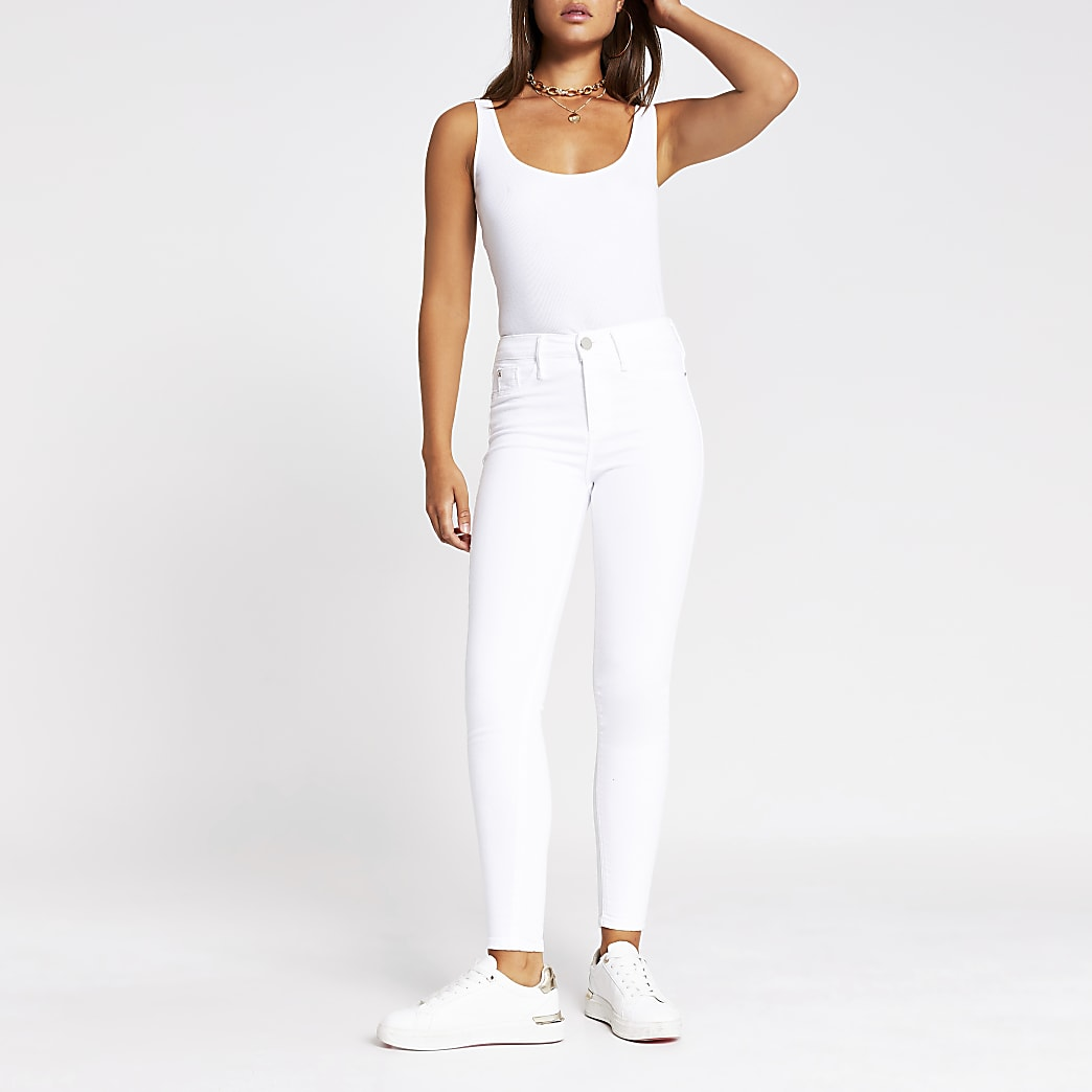 White Molly Mid Rise Skinny Jean