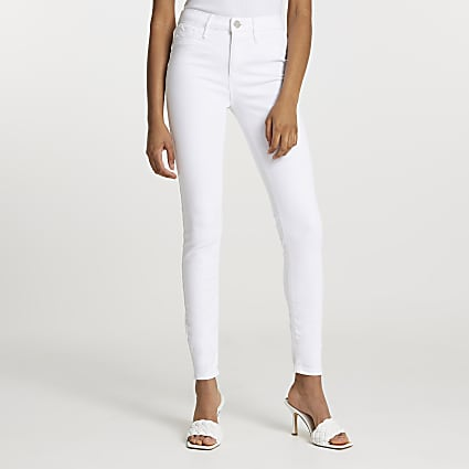 White Molly mid rise skinny sculpt jean
