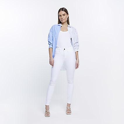 White Molly mid rise skinny sculpt jean