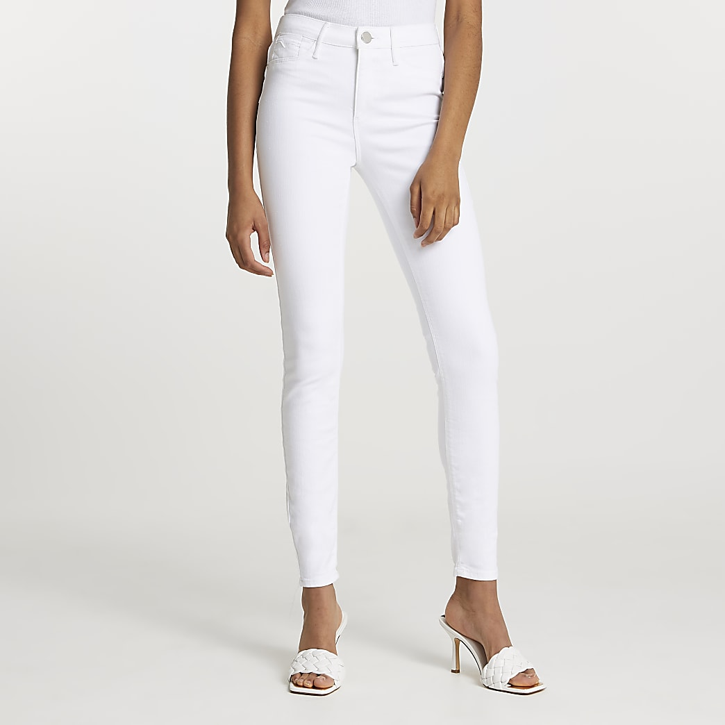 White Molly mid rise skinny sculpt jeans