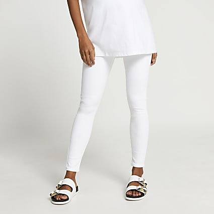 White Molly overbump maternity jeans