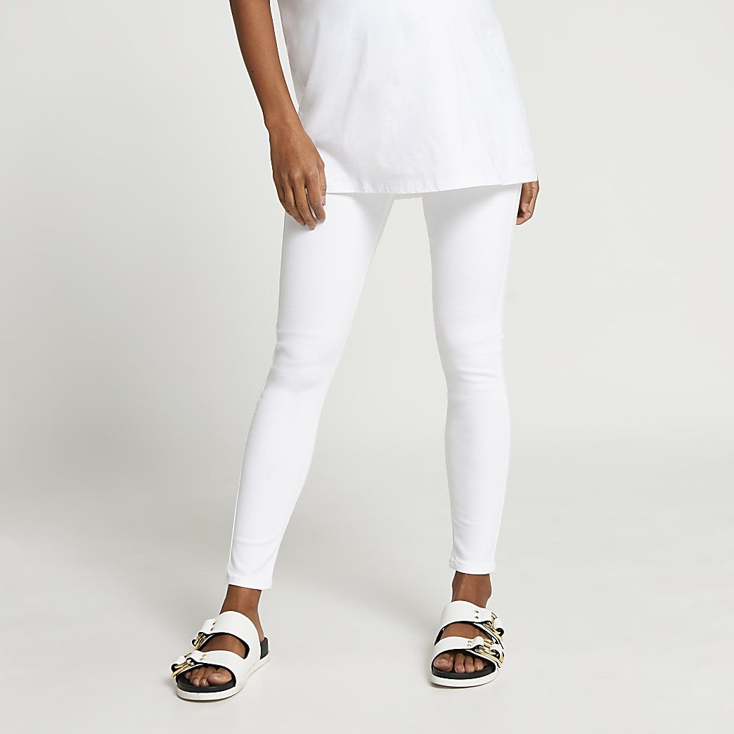 White Molly overbump maternity jeggings