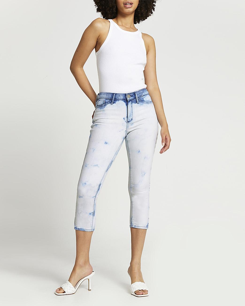 White Molly tie dye cropped jeans