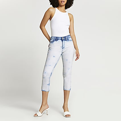 White Molly tie dye cropped jeans