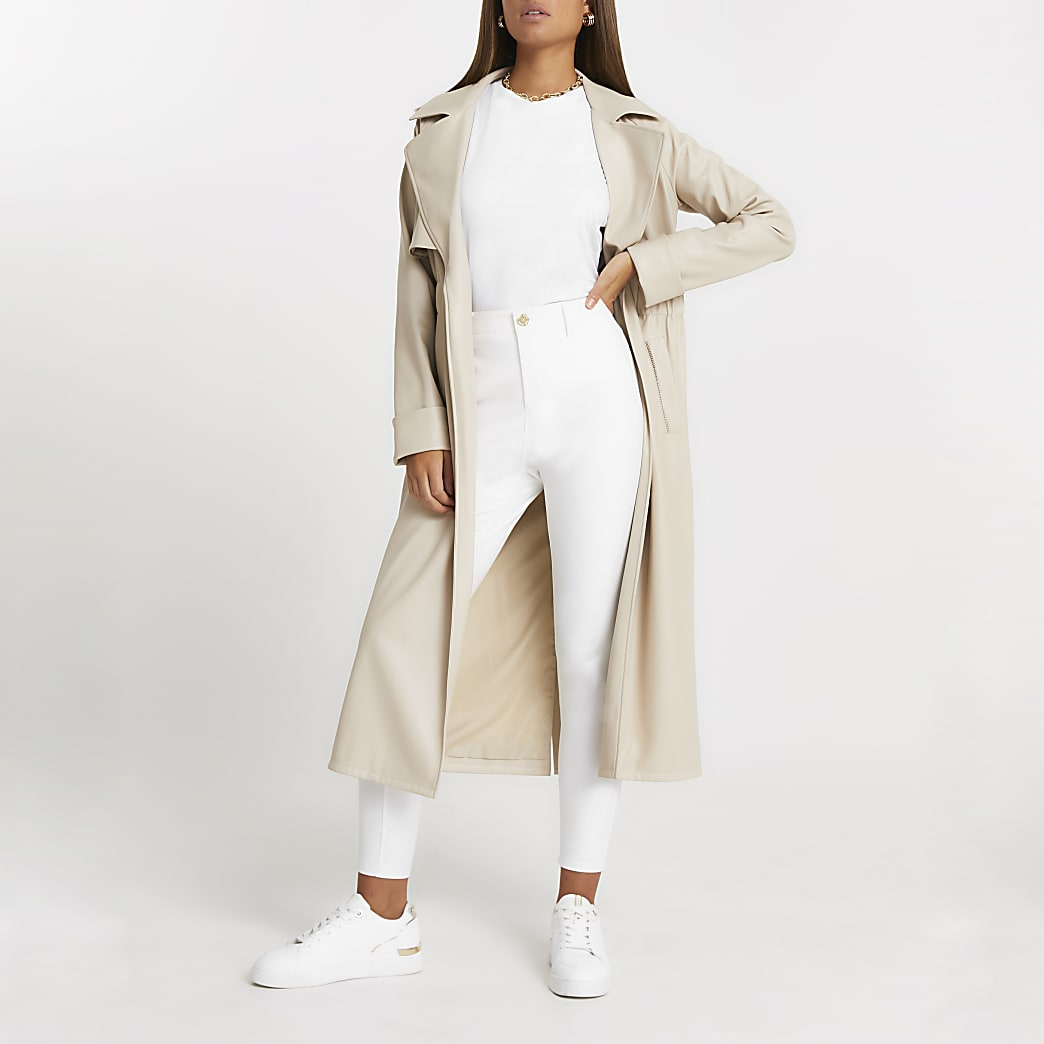 White Molly twill mid rise skinny trousers