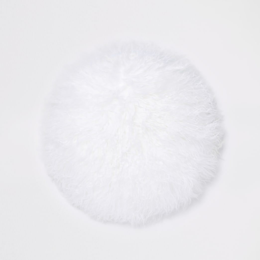 White Mongolian round cushion