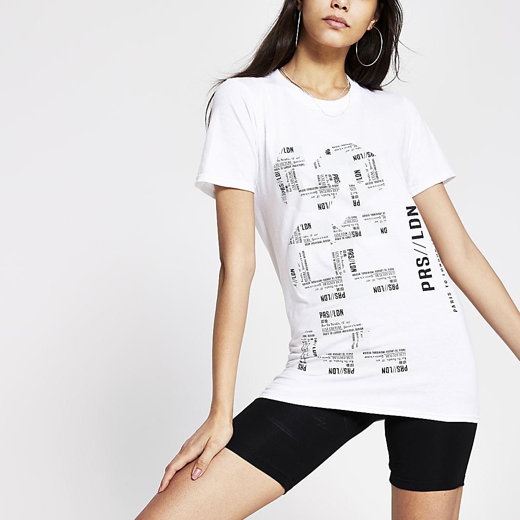 White mono printed Longline t-shirt
