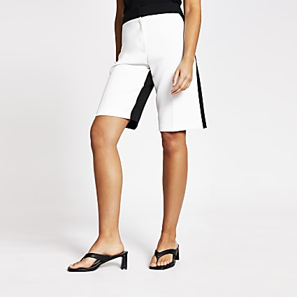 White monochrome high rise shorts