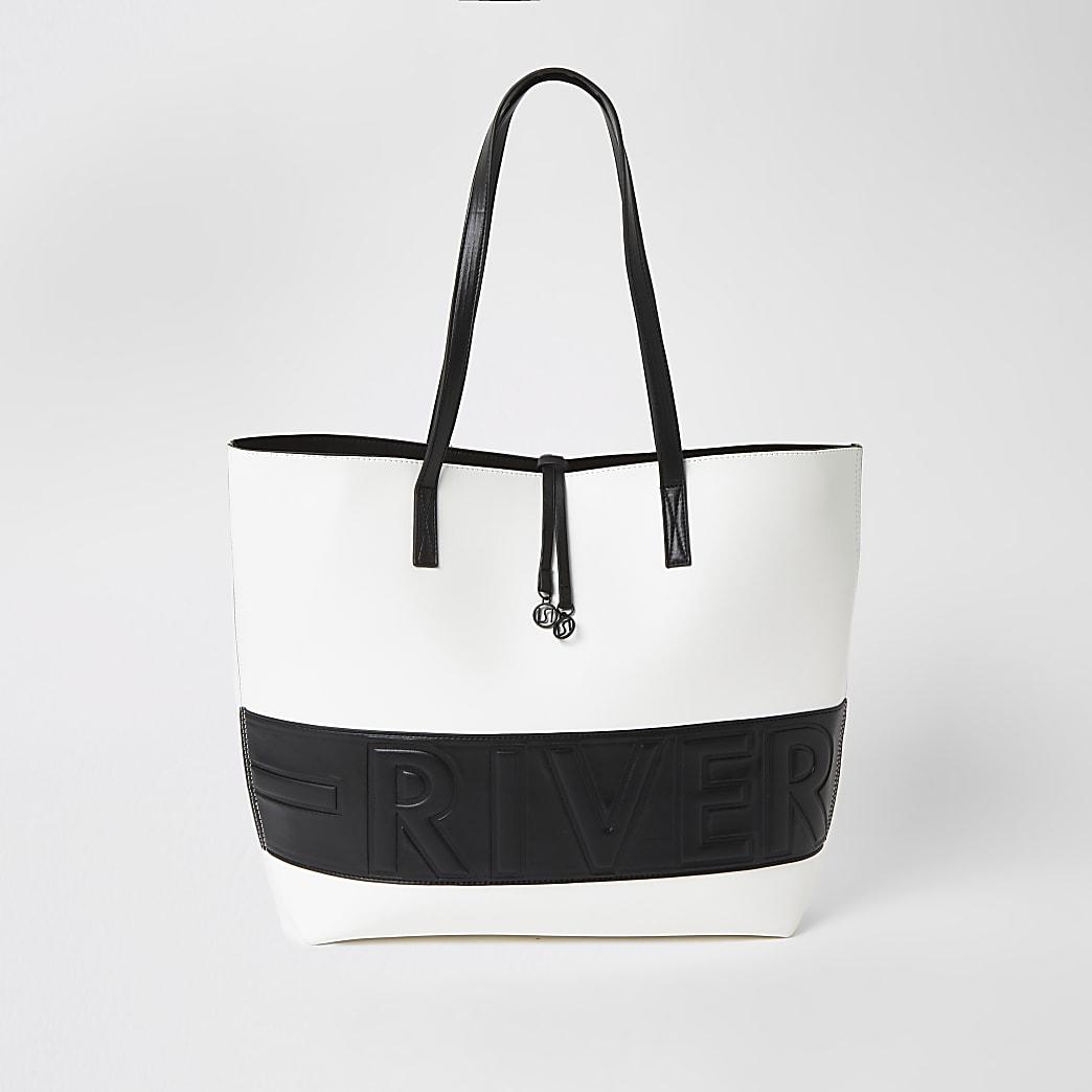 White monochrome 'River' embossed bag