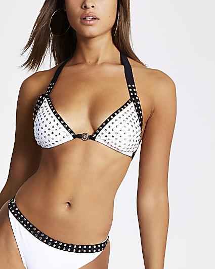White monochrome studded triangle bikini top